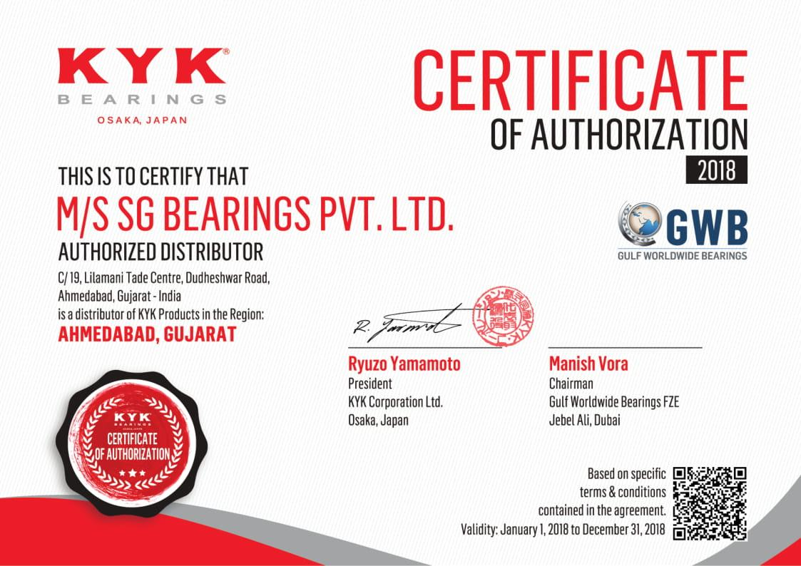 KYK AUTHORIZED DISTRIBUTOR CERTIFICATE
